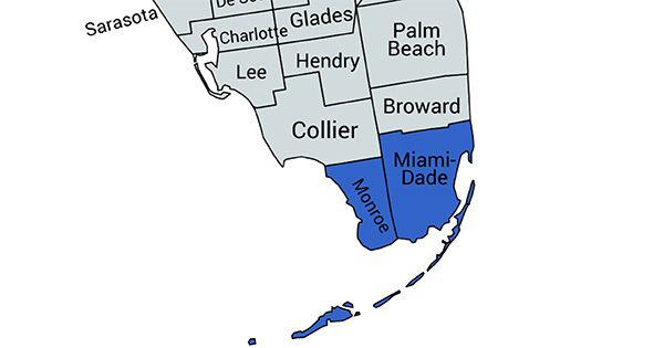 miami dade and monroe county map